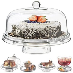 Gr8 Home Multi Functional 6in1 Clear Cake Stand Dome Platter Dip Server Punch Salad Snack Bowl Kitchen Party BBQ Picnic Tray 51Le3zZhN8L