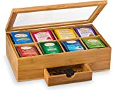 Premium Bamboo Tea Box Organizer - Natural Wood Teabag Holder Organizer - 8 Storage Compartment with Small Drawer - Great Gift Idea