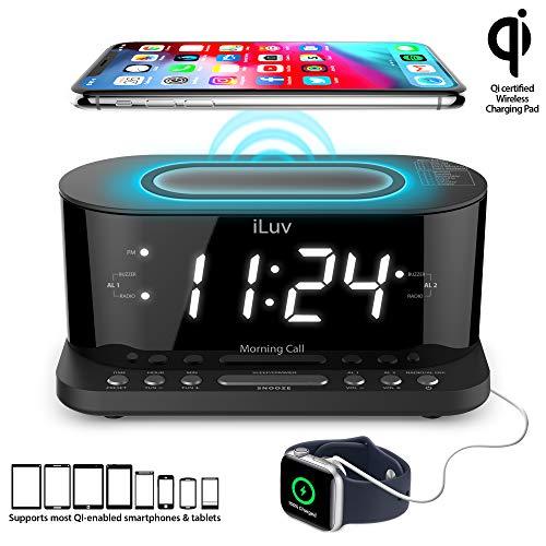 iLuv Wireless Charging Alarm Clock with Qi Certified, 1.2' Jumbo LED Dual alarm Clock , Radio Alarm Clock, FM 10 Preset, USB Charging Alarm Clock, Sleep Timer, 3 Dimmer,100 -240V AC Power