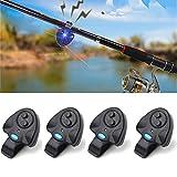 4 Pcs Black Electronic LED Light Fishing Bite Sound Alarm Alert Bell Clip On Fishing Rod