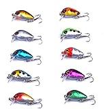 Aorace 10pcs/lot Mini Fishing Lures 10 Colors Fishing Bait 2.6cm/1.6g Fishing Tackle #10 High Carbon Steel Treble Hook