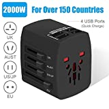 Travel Adapter, 2000W International Power Adapter, All in One Universal Power Adapter with 4 Quick Charge USB 3.0 Ports, for UK, EU, AU, US, Over 150 Countries (Black)