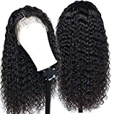 Eayon Hair Curly Lace Front Human Hair Wigs-Glueless 130% Density Brazilian Virgin Remy Wigs with Baby Hair for Women 18inch Natural Color