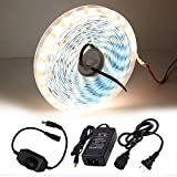 XUNATA Dimmable LED Strip Lights Kit, Super Bright 16.4Ft 12V DC 5630 600 LEDs Tape Light, Includes Power Supply and Dimmer, Warm White 3500K, 25-35LM/LED, 2 Times Brightness Than 5050