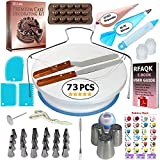 73 pcs Cake Decorating Supplies Kit for Beginners-1 Turntable stand-24 Numbered icing tips with pattern chart & E.Book-1 Cake Leveler-Straight & Angled Spatula-3 Russian Piping nozzles-Baking tools