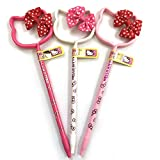 Sanrio Hello Kitty Ribbon Polka Dot Red Pink White 3PCS Pen Set