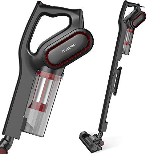 iTvanila Vacuum Cleaner, Stick Bagless Vacuum Cleaner, 600W Lightweight Corded 2 in 1 Handheld Vacuum with HEPA Filtration for Hard Floor Pet Hair Cleaning, Black