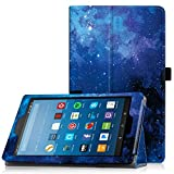 Famavala Folio Case Cover with Auto Wake/Sleep Feature for 8' Fire HD 8 Tablet [Compatible with 8th Generation 2018 / 7th Generation 2017 ] 8-Inch Tablet (BlueSky)