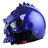 1STorm Motorcycle Street Bike Scooter Open Face Helmet; 3D Skull Glossy Blue