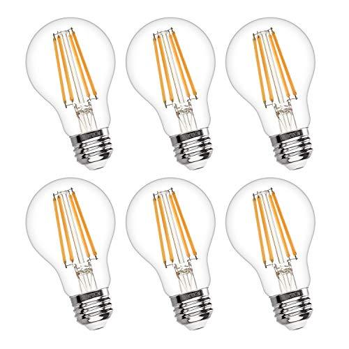 Vintage LED Edison Bulb Dimmable 6W A19 LED Light Bulbs 2700K Soft White 600LM Led Filament Bulb 60W Incandescent Equivalent E26 Medium Base Decorative Clear Glass for Home, Restaurant, Cafe, 6 Pack
