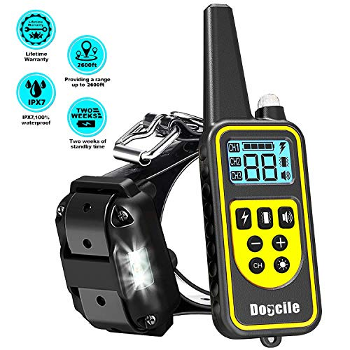LINNSE Shock Collar for Dogs, Dog Shock Collar with Remote Control for 2600ft Range 100% Waterproof & Rechargeable Dog Training Collar with Remote (C46)
