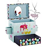 RR ROUND RICH DESIGN Kids Musical Jewelry Box for Girls with Drawer and Jewelry Set with Lovely Mermaid Theme - Beautiful Dream Tune Blue