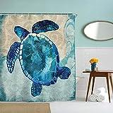 IcosaMro Ocean Shower Curtain for Bathroom with Hooks, Sea Turtle Nautical Decorative Long Cloth Fabric Shower Curtain Bath Decorations- 71' Wx72L, Turquoise