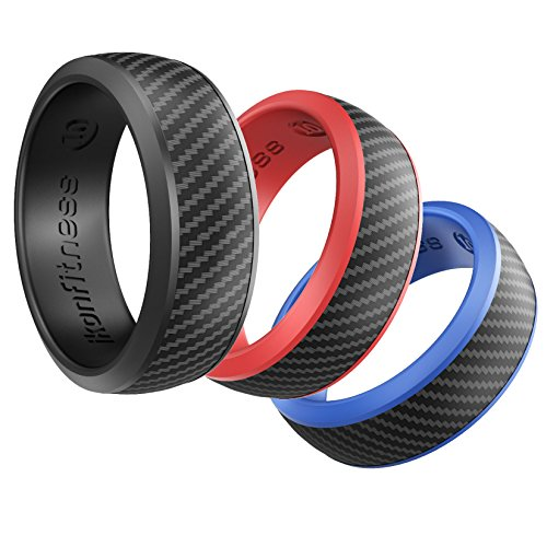 Silicone Wedding Ring for Men and Women - 3 Pack Comfortable Fit, Skin Safe, Non-toxic, Antibacterial Rubber Wedding Ring by Ikonfitness - Black, Blue, Red - Come with a Delicate Metal Box