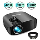 Projector, GooDee HD Video Projector 4200L Outdoor Movie Projector, 200' Home Theater Projector Support 1080P, Compatible with Fire TV Stick, PS4, HDMI, VGA, AV and USB
