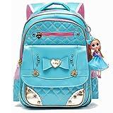 Waterproof PU Leather Kids Backpack Cute School Bookbag for Girls (Large, Blue)