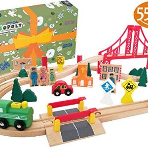 Wooden Train Tracks Full Set, Deluxe 55 Pcs with 3 Destination Fits Thomas, Brio, IKEA, Chuggington, Imaginarium, Melissa and Doug – Best Gifts for Kids Toddler Boys and Girls 51Lp6 olWUL