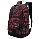 Ricky-H Red/Black Graffiti School Backpack for Girls & Boys Students, Men & Women, Lightweight with Laptop Compartment-Dark Red