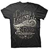 60th Birthday Gift Shirt - Living Legend 1959 Legends Never Die - Black-Lg