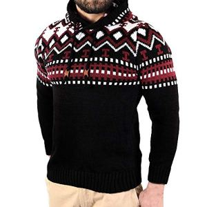 KIKOY Mens Casual Slim Fit Knitted Soft Cotton Crewneck Pullover Hooded Sweater
