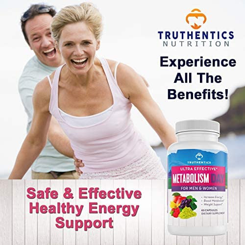 TRUTHENTICS Metabolism & Energy Boost - Natural Aid for Slow Metabolism - Supports Energy, Weight Loss, Blood Sugar Balance Supplement for Women & Men - Use Fat for Energy - Manage Cravings - 60 caps 4