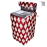E-Retailer Classic Maroon Flower Design Top Load Washing Machine Cover (Suitable For 6 kg, 6.5 kg, 7 kg, 7.5 kg)