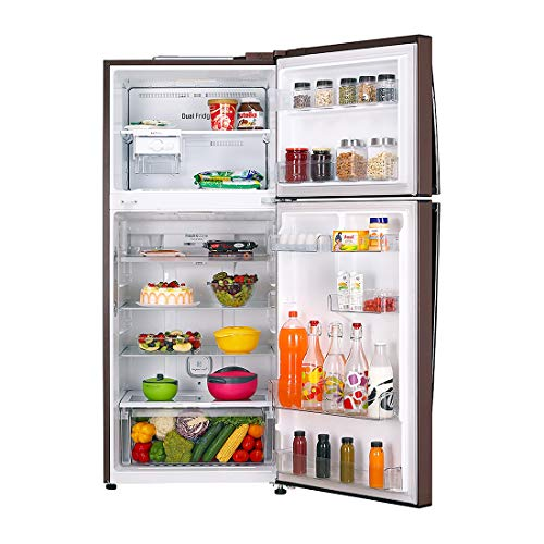 LG 437 L 3 Star LG ThinQ(Wi-Fi) Inverter Linear Frost-Free Double-Door Refrigerator (GL-T432FASN, Amber Steel, Convertible)