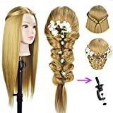 26'-28'Mannequin Head Cosmetology Manikin Professional Hairdresser Head Doll Head Synthetic Fiber Styling with Free Clamp