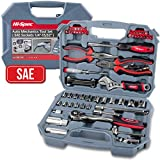 Hi-Spec 67 Piece SAE Auto Mechanics Tool Set - 3/8' Quick Release Offset Ratchet with 72 Teeth, 5/32' - 3/4' SAE Sockets Set, T-Bar, Extension Bar, Hand Tools & Screw Bits in Storage Case