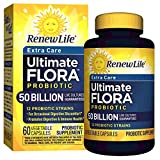Renew Life Adult Probiotic - Ultimate Flora Probiotic Extra Care, Shelf Stable Probiotic Supplement - 50 billion - 60 Vegetable Capsules (Packaging May Vary)
