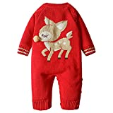 ZOEREA Newborn Baby Romper Christmas Clothes Knitted Sweaters Reindeer Outfit (Label 18M/90 (Advise 12-18 Months), Red 9)