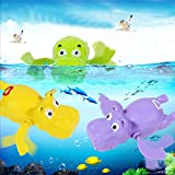 Rainbowkids Hippo shaped Educational Wind Up Plastic Baby Bath toys,Swimming in the bathtub at the Baby bathtime,Swimming Toy for 3 months up baby