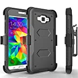 Grand Prime Case, Tekcoo [TShell Series] [Black] Shock Absorbing [Built-in Screen Protector] Holster Locking Belt Clip Defender Heavy Duty Case Cover for Samsung Galaxy Grand Prime/Go Prime