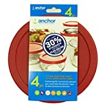Anchor Hocking Improved 30% Stronger Replacement Lids 1x7cup,1x4cup,1x2cup,1x1cup, red Round lid