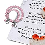 Back to School Gifts - First Day of School Mommy & Me Bracelets with Poem Card - Mother Daughter Matching Heart Bracelets Set for 2 - Anxiety Seperation Present Preschool Kindergarten