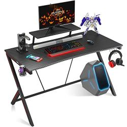 """MOTPK Gaming Desk 40″ with Monitor Shelf Gaming Table Home Computer Desk with Cup Holder and Headphone Hook Gamer Workstation Game Table (40″ W x 29"""" D), Black"""