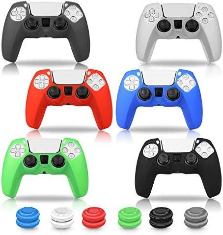 【6 Pack】 PS5 Controller Skins, Anti-Slip Silicone PS5 Controller Cover Protector Case Compatible with Sony Playstation 5/PS5 Dualsense Wireless Controller with 12 X Thumb Grip Caps