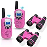 Anpro walkie talkies and Telescope Sets for Kids, 22 Channel 2 Way Radio 3 Mile Long Range Handheld Kids Walkie Talkies, Best Gifts & Top Toys for Boy & Girls for Outdoor Adventure Game(Pink)