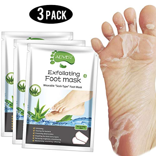 Foot Peel Mask 3 Pack, Exfoliator Peel Off Calluses Dead Skin Callus Remover,Baby Soft Smooth Touch Feet-Men Women (Aloe Vera)