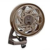 Suncast Sidetracker Garden Hose Reel with Guide - Fully Assembled Outdoor Wall Mount Tracker with Removable Reel - 125' Hose Capacity - Bronze