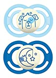 MAM Glow In The Dark Pacifiers, Baby Pacifier 6+ Months, Best Pacifier for Breastfed Babies, Premium Comfort and Oral Care 'Perfect' Collection, Boy, 2-Count