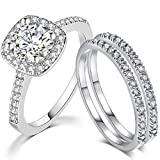 SDT Jewelry Three-in-One Bridal Wedding Engagement Anniversary Statement Eternity Ring Set (Silver, 7)