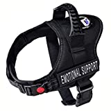 Just 4 Paws Emotional Support Dog Harness Jacket with Padded Handle | 6 Sizes | Adjustable Straps & 2 Removable Reflective Patches (Medium-Chest 24' to 32', Black)