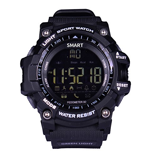 61ph Yd0ElL FUNCTIONS:Steps counting,Burned calory,Distance,Alarm,Stopwatch,Incoming call,Low power,BT 4.0 etc 50M(167ft) Water Resistant,NO PROBLEM to wear the watch when you are SHOWERING/SWIMMING/DIVING etc Super Long Standby Time,normal standby time is 8 months,last more than 12 months under saving mode.