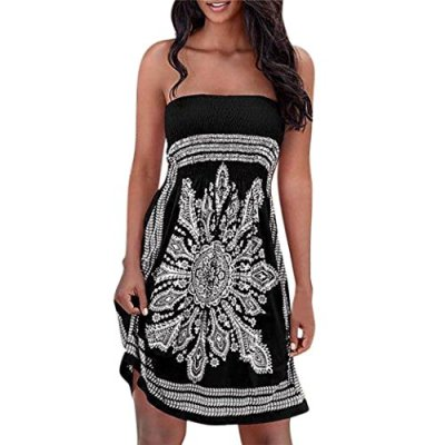 763ecb673 Hot Sale! Ruhiku GW Women s Strapless Dress Bohemian Floral Casual Mini  Beach Cover up Dress