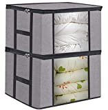 Foldable Large Comforter Storage Bags Organizers, Breathable Linen Closet Organizers for Blankets, Clothes, Create Extra Storage with Clear Window, Set of 2 Grey with Printing