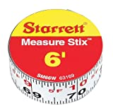 Starrett Measure Stix SM66W Steel White Measure Tape with Adhesive Backing, English Graduation Style, Left to Right Reading, 6' Length, 0.75' Width, 0.0625' Graduation Interval