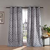 Kelvin Kit Heavy Geometric Blackout Window Curtain Set of 2 Panels, 38 x 112, Gray