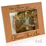 Kate Posh Today a Groom, Tomorrow a Husband, Forever Your Son Picture Frame - Engraved Natural Wood Photo Frame - Father of The Groom Gifts, Mother of The Groom Gifts (4x6-Horizontal - Groom)