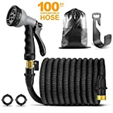 CRJUS Garden Hose 100ft Expandable Water Hose,Extra Strength Fabric - Flexible Expanding Hose with Metal 9 Function Spray Nozzle with Hose Storage Bag & Heavy Duty & One Hanger (100FT, Grey)